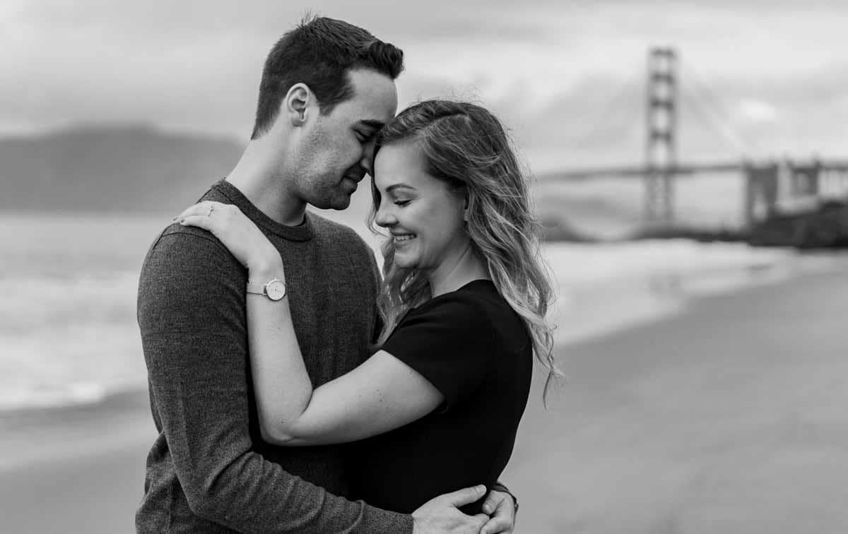 Golden Gate bridge in the back for this engagement session