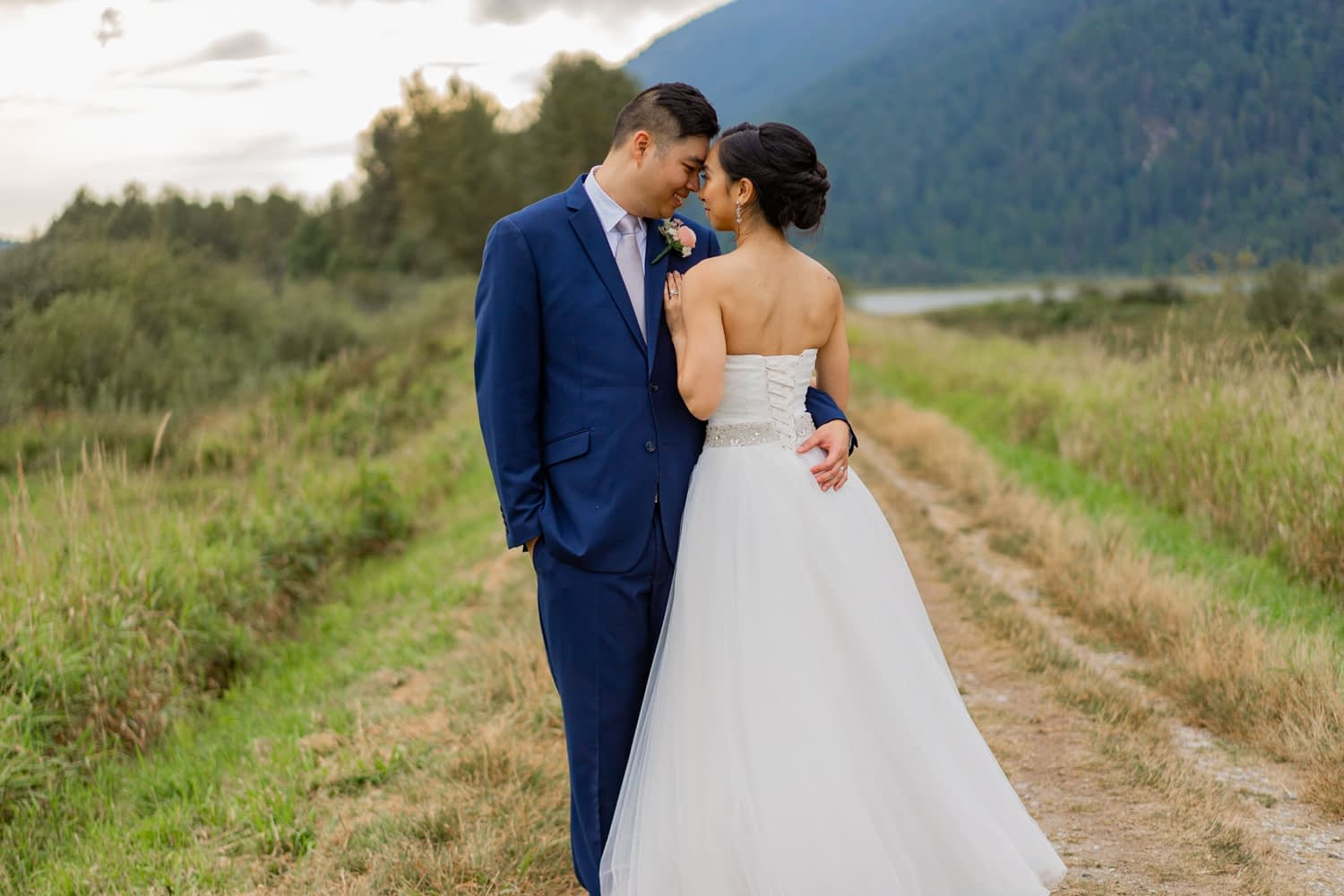Bride and Groom at Pitt Lake for wedding portraits