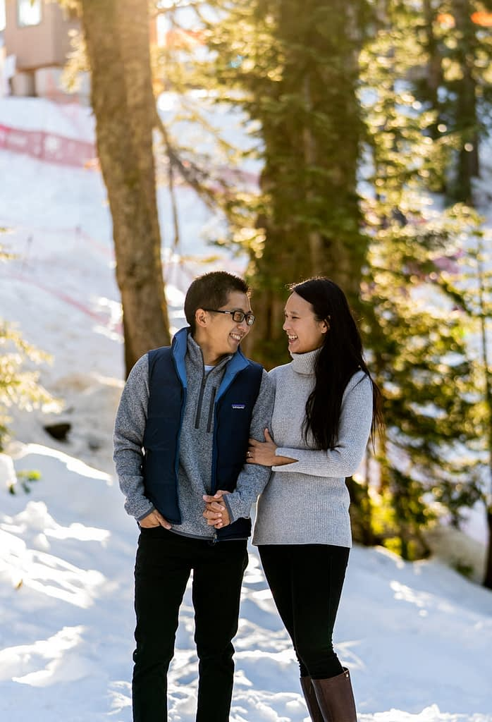 couple linking arms at Grouse Mountain