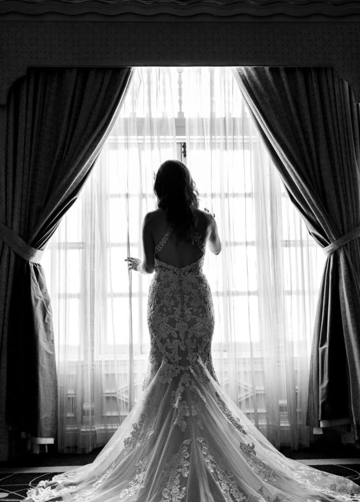Black and White photos of the bride at Rosewood Hotel Georgia
