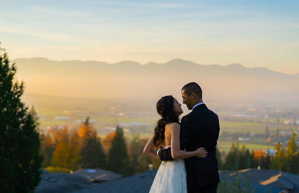 Bride and groom overlooking chilliwack for their wedding