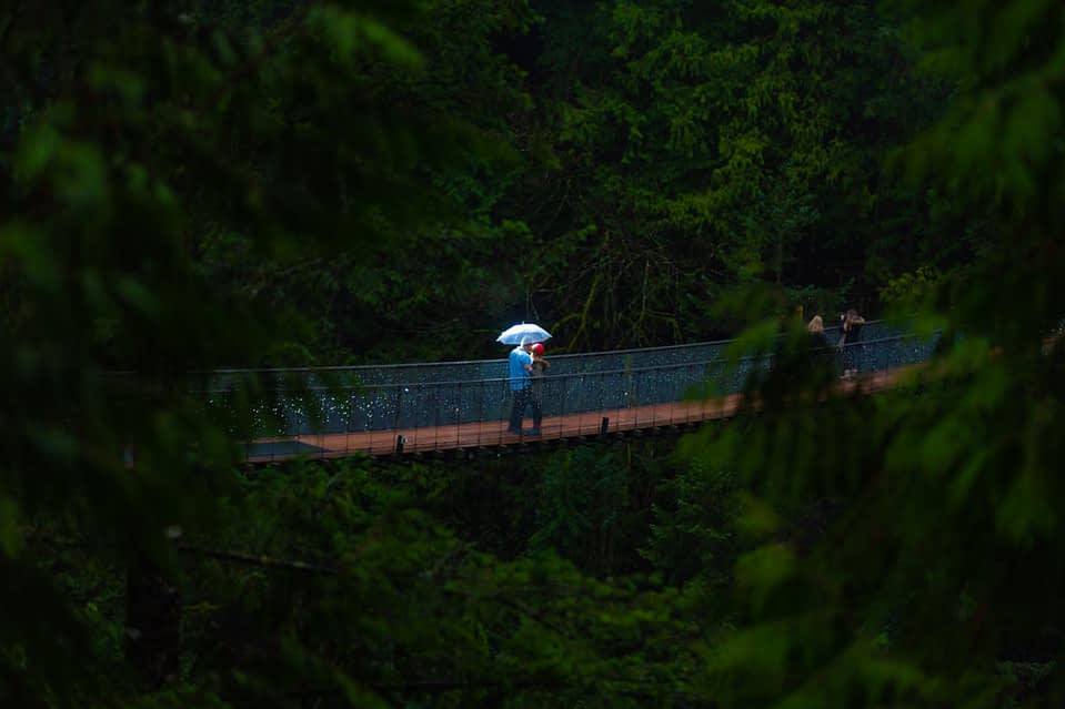 Capilano suspension proposal. Couple on bridge with dramatic lighting