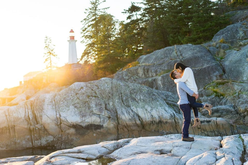 Lighthouse Park Engagement photo at the view point during sunset