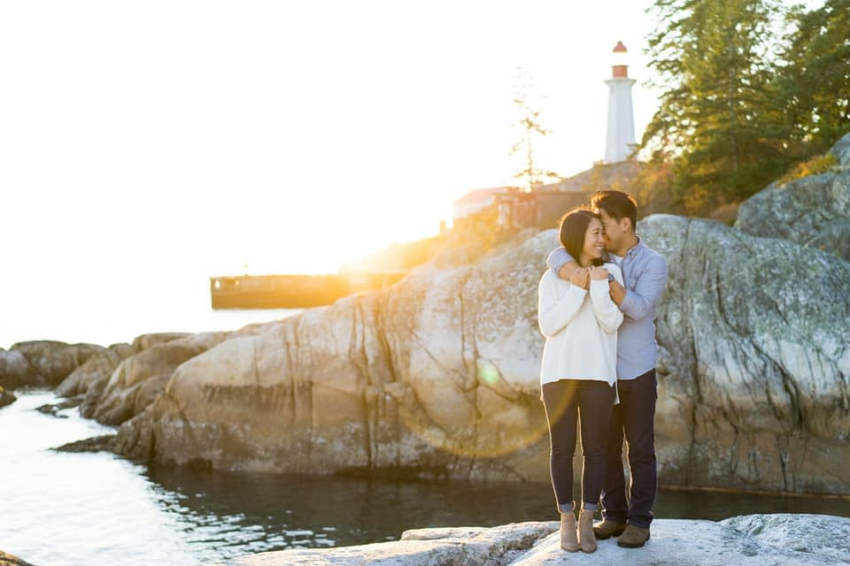 Lighthouse Park Engagement at the view point during sunset