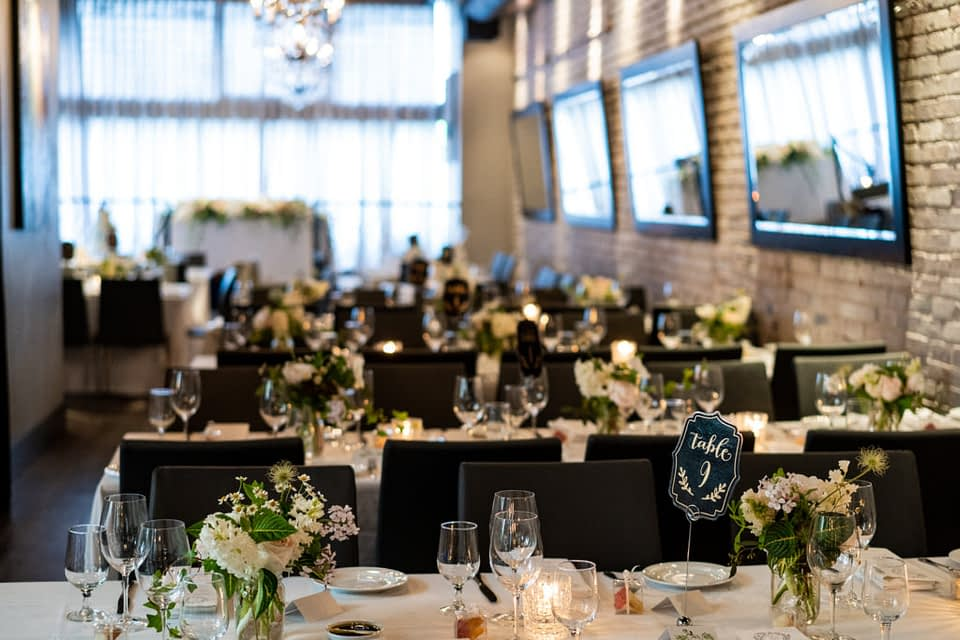 wedding reception space at Brix and Mortar