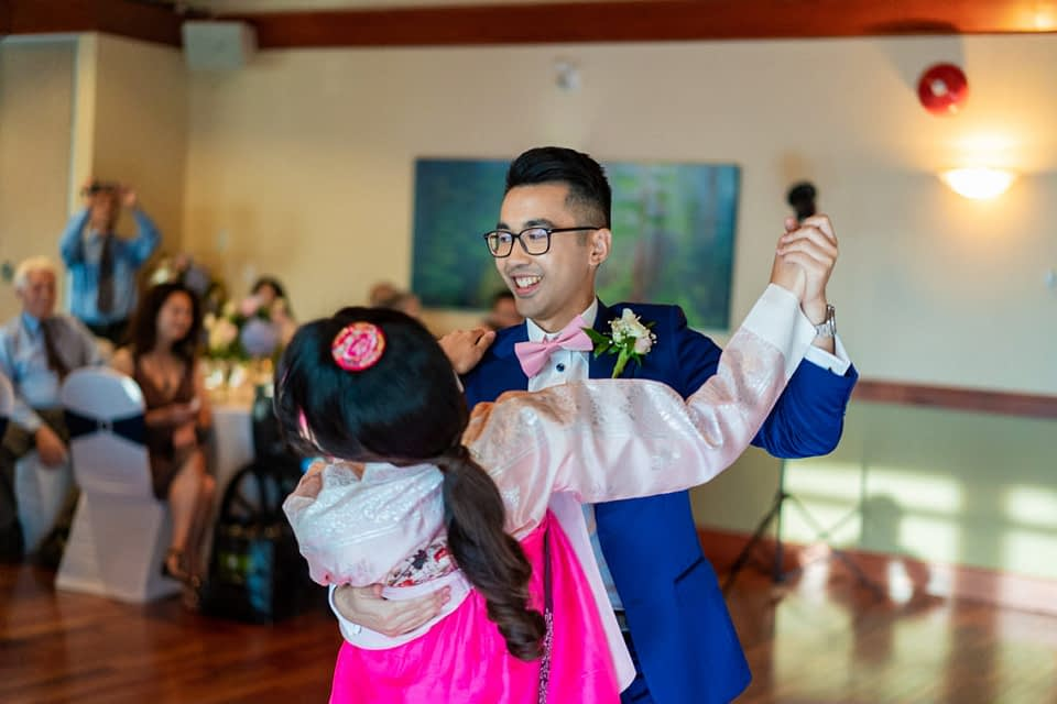 Bride and groom's first dance during their Vancouver Golf Club wedding