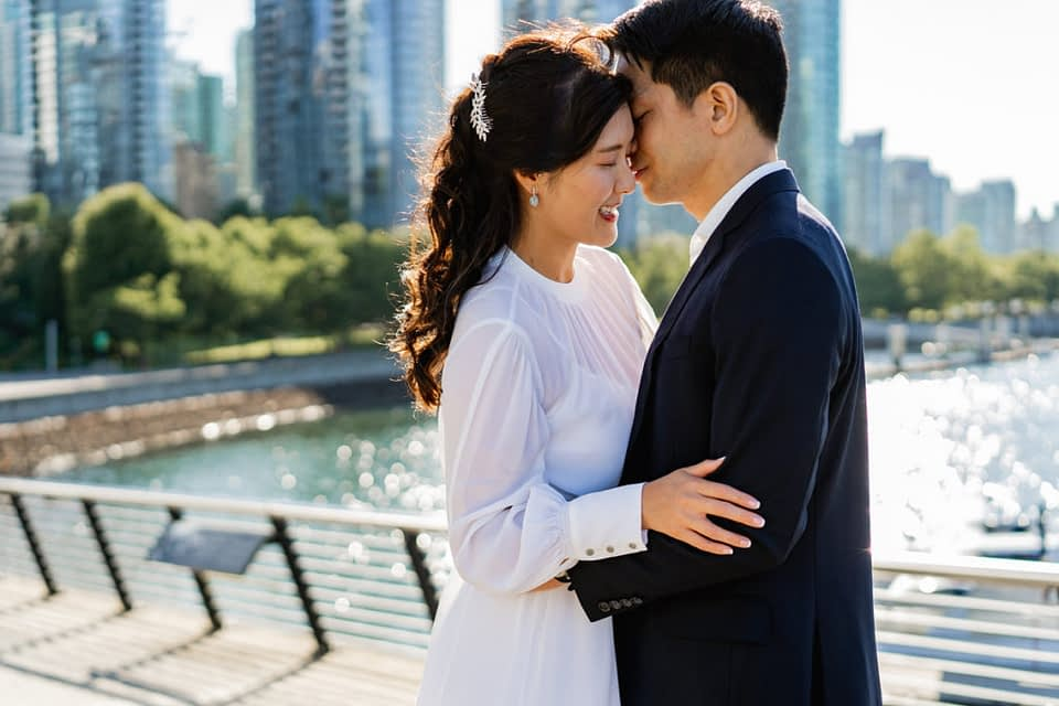 engagement session in front of Vancouver Convention Centre