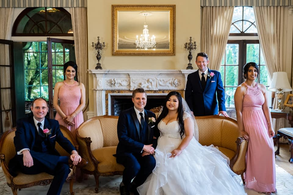 wedding party in the Drawing Room at Hycroft Manor