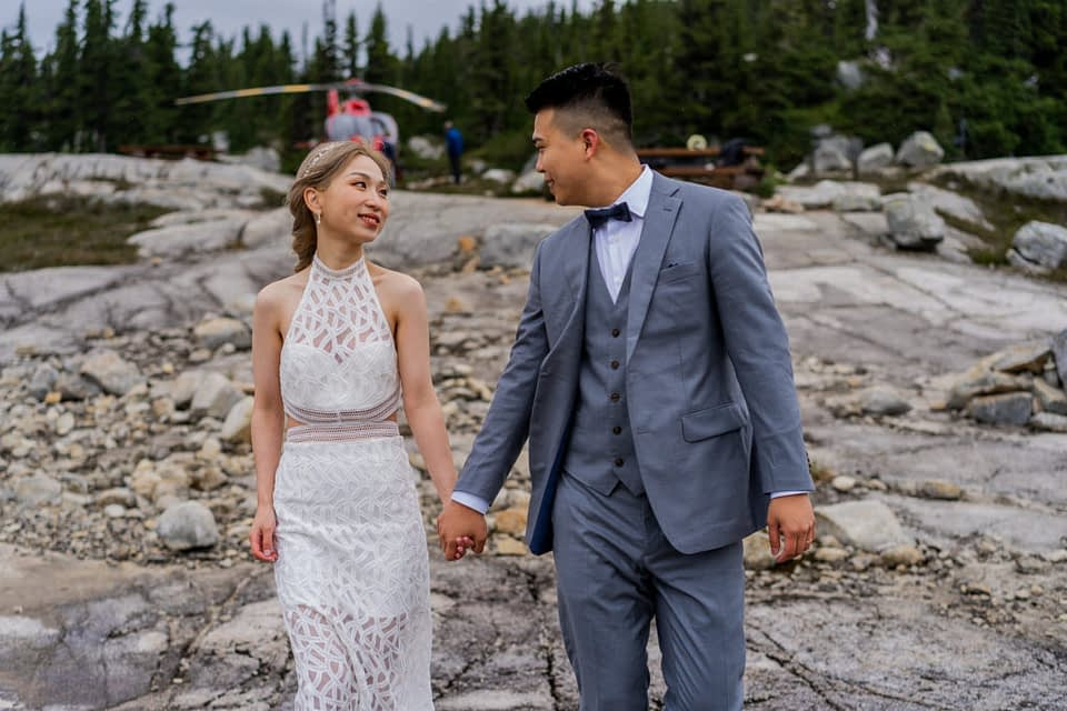 couple walking after their wedding at Beverley Lake in Whistler