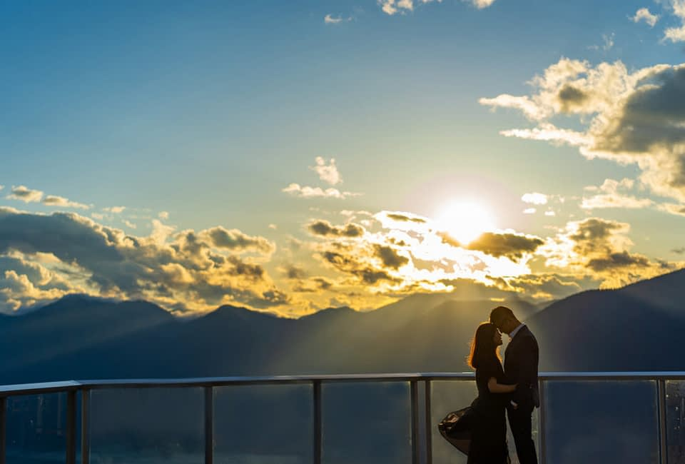 Couple at the top of Sea to Sky Gondola for their engagement